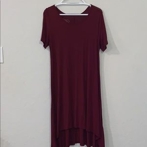 Merlot high-low T-shirt dress.